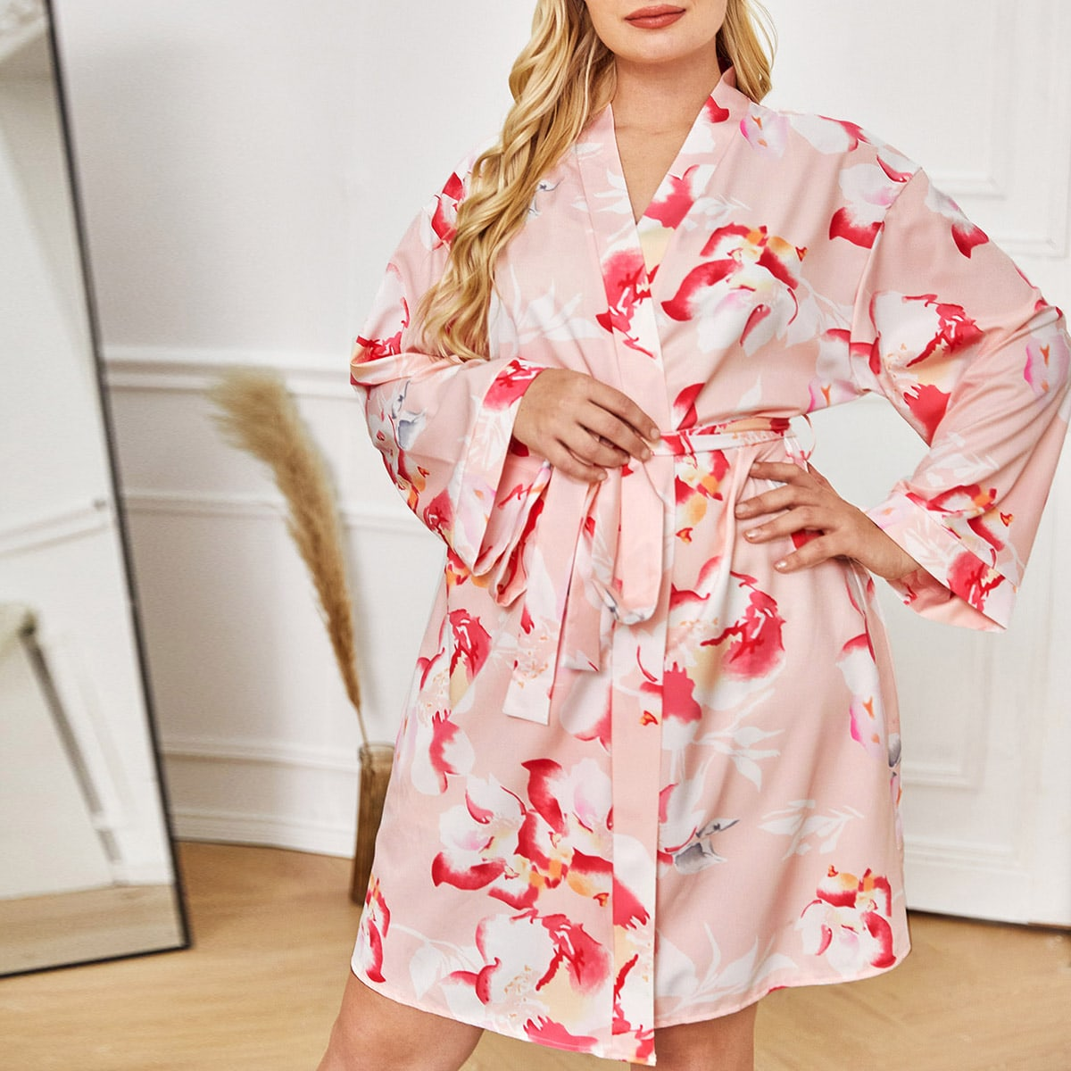 Plus 1Pc Floral Belted Robe