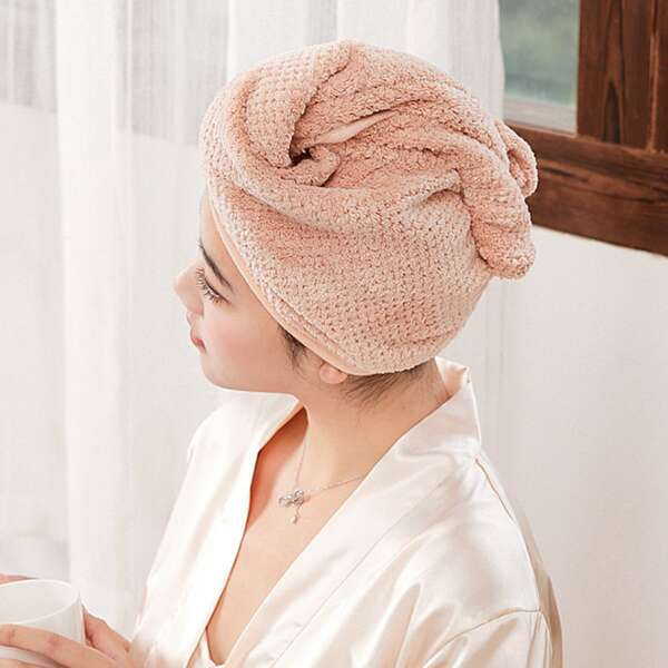 1pc Plain Hair Drying Cap, Dusty pink