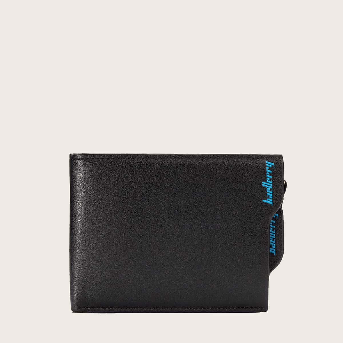 Мужской складной кошелек с текстовым рисунком