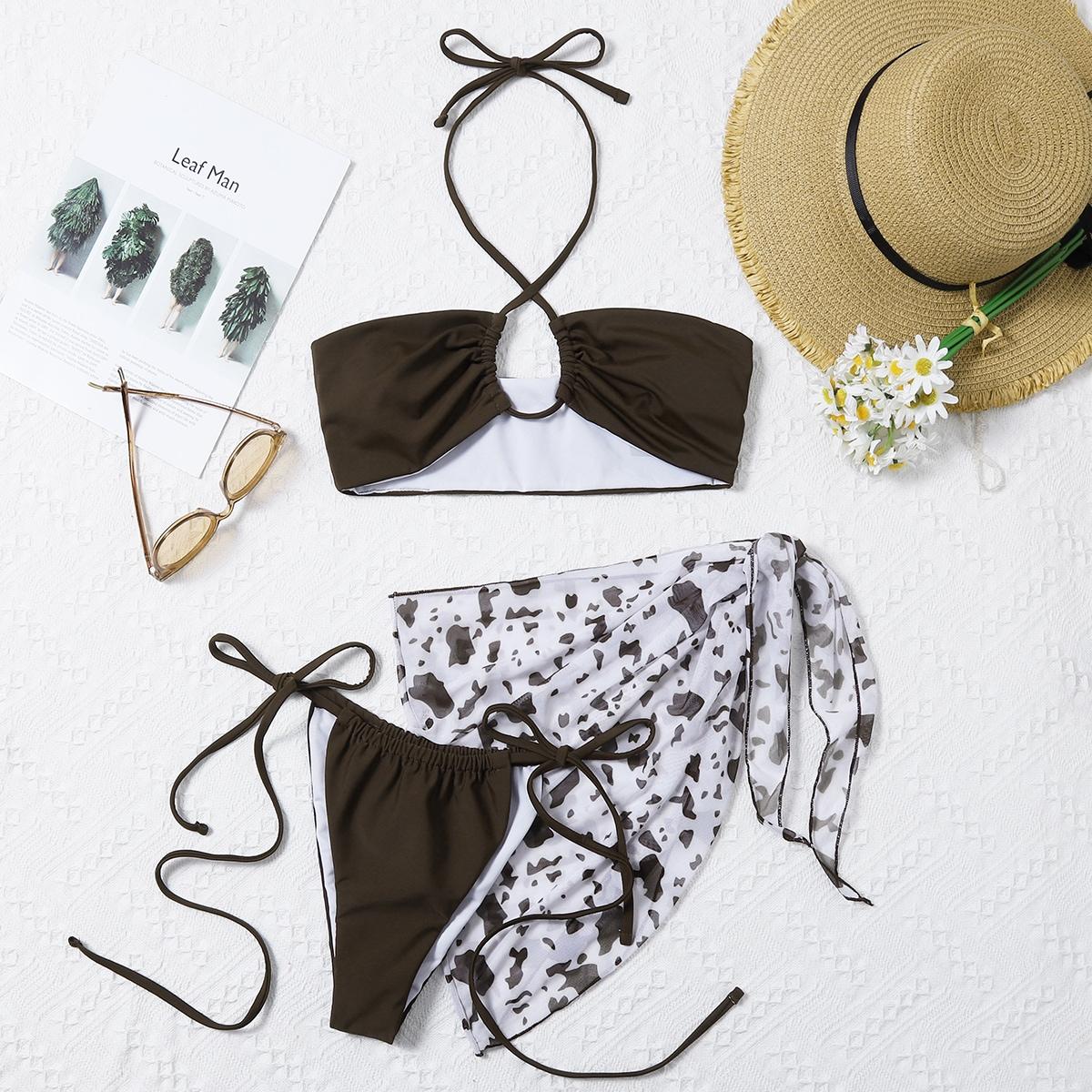 SHEIN / 3pack Cross Halter Bikini Swimsuit & Beach Skirt