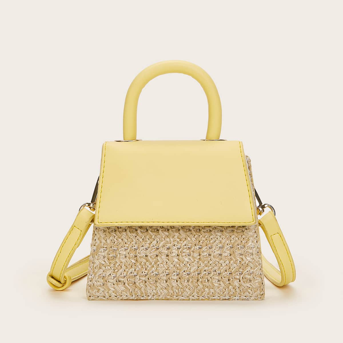 SHEIN / Mini Straw Panel Satchel Bag