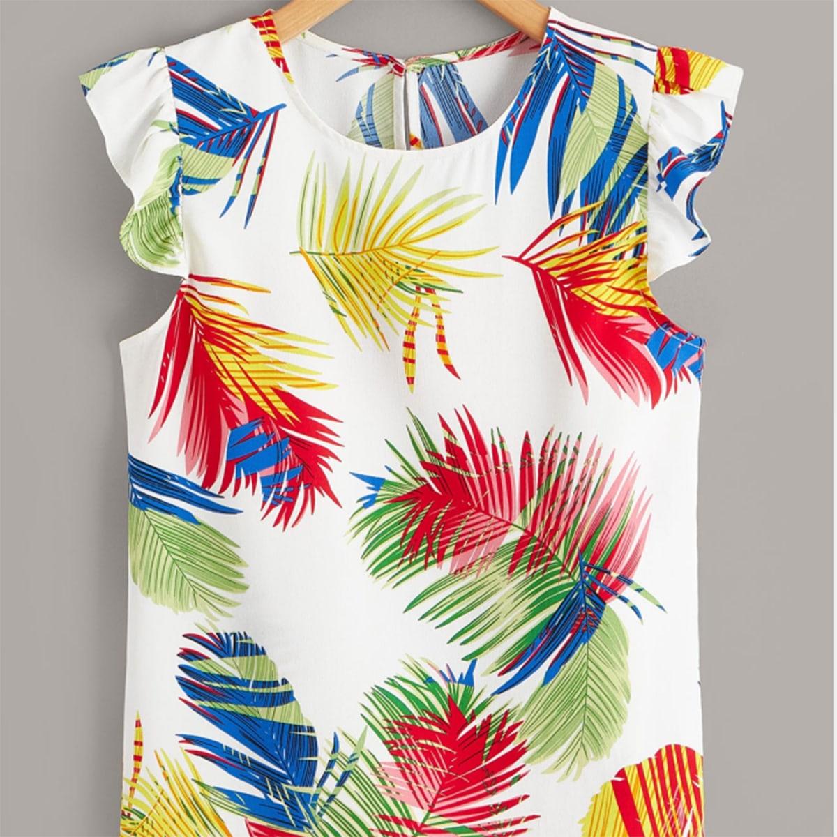с оборками Тропический Бохо Блузы размер плюс по цене 710