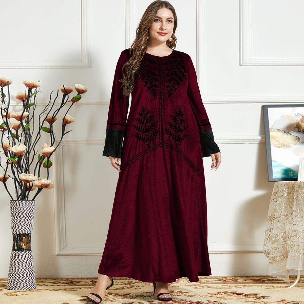 Бархатное платье размера плюс с вышивкой листьев