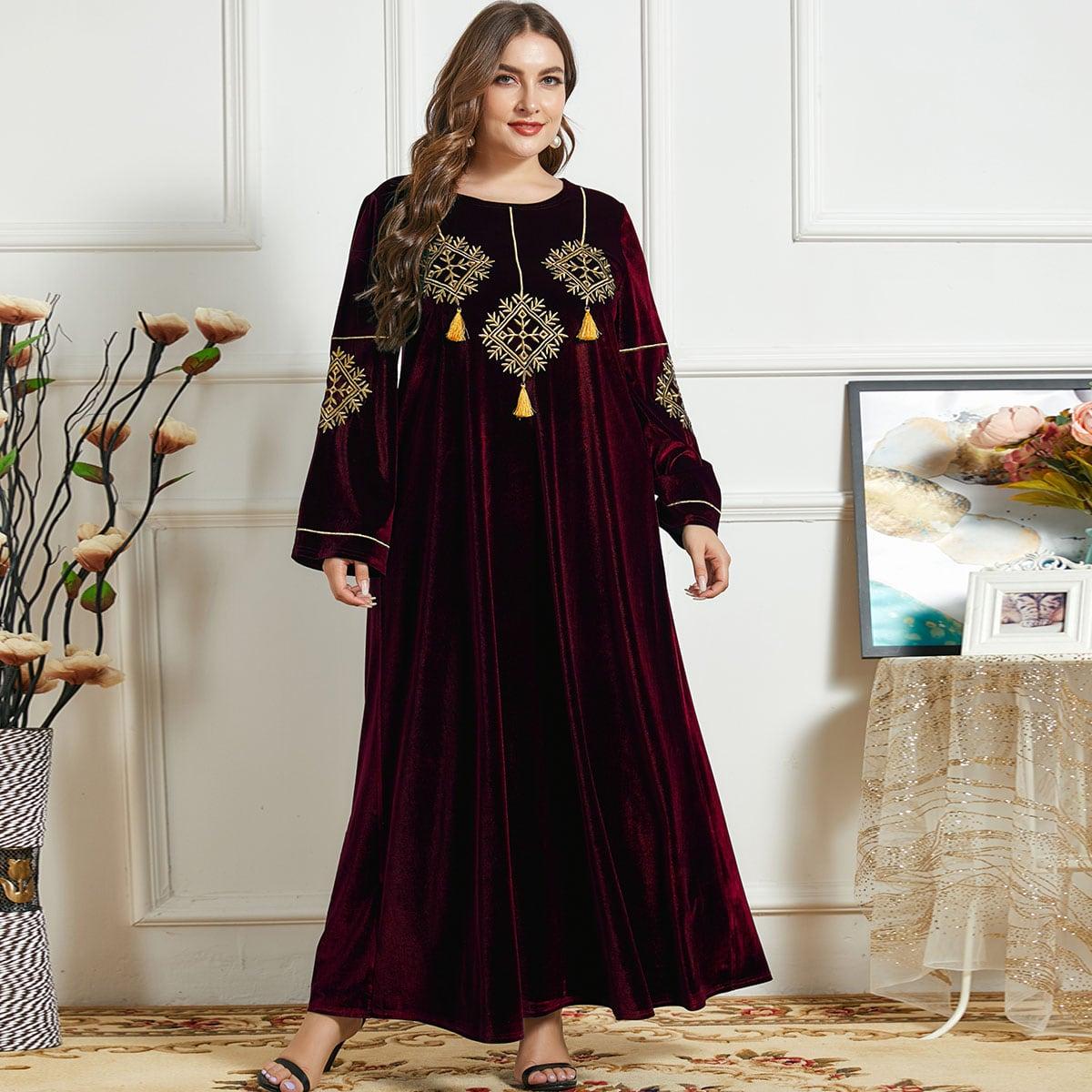 Бархатное платье размера плюс с вышивкой и бахромой