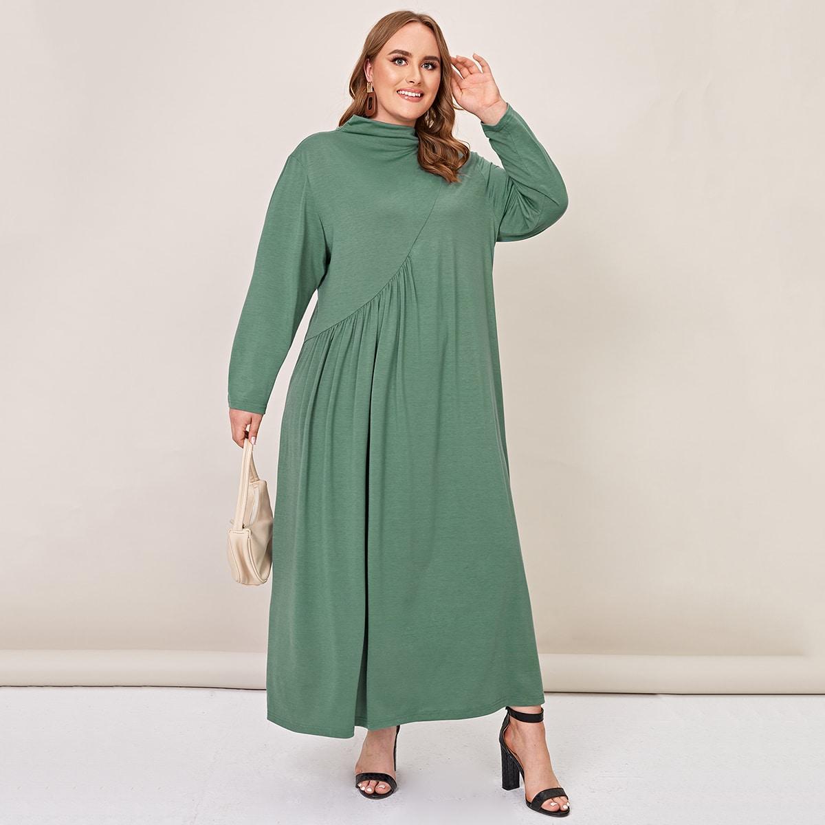 Одноцветный Повседневный Платья размер плюс