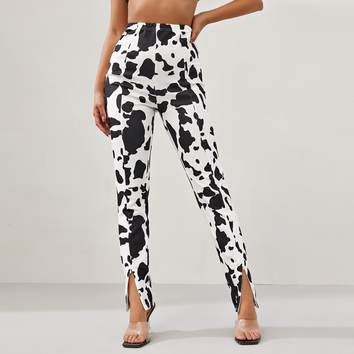 Cow Print Zip Hem Pants, SHEIN  - buy with discount