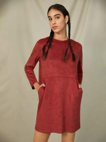 Dress Zipper Back Pocket Suede Dress