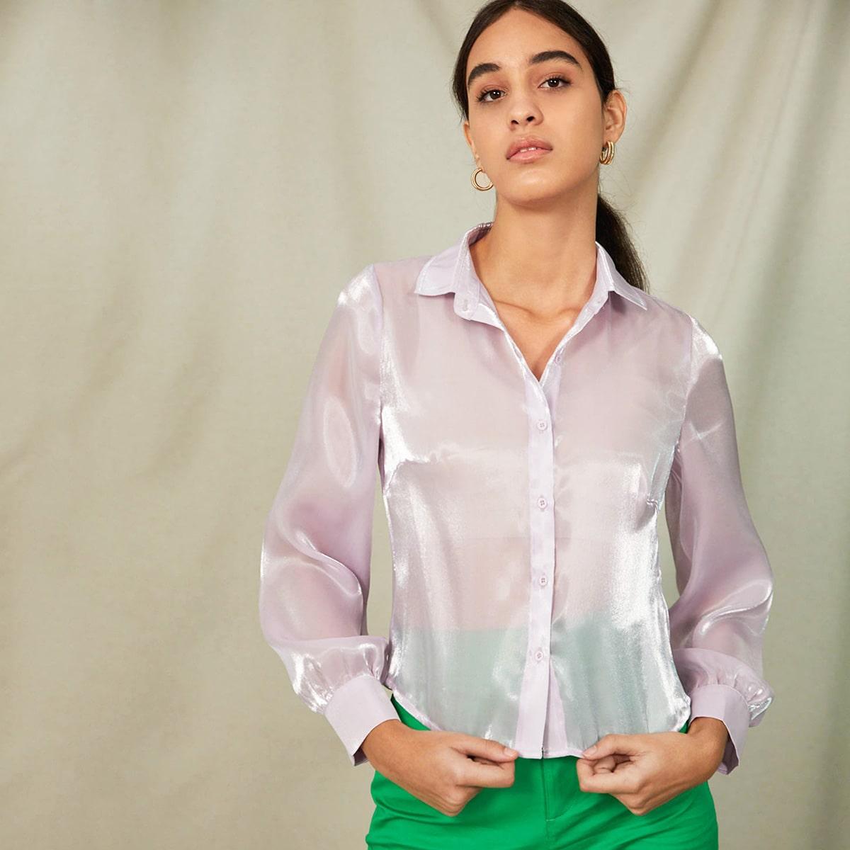 Прозрачный Одноцветный Элегантный Блузы