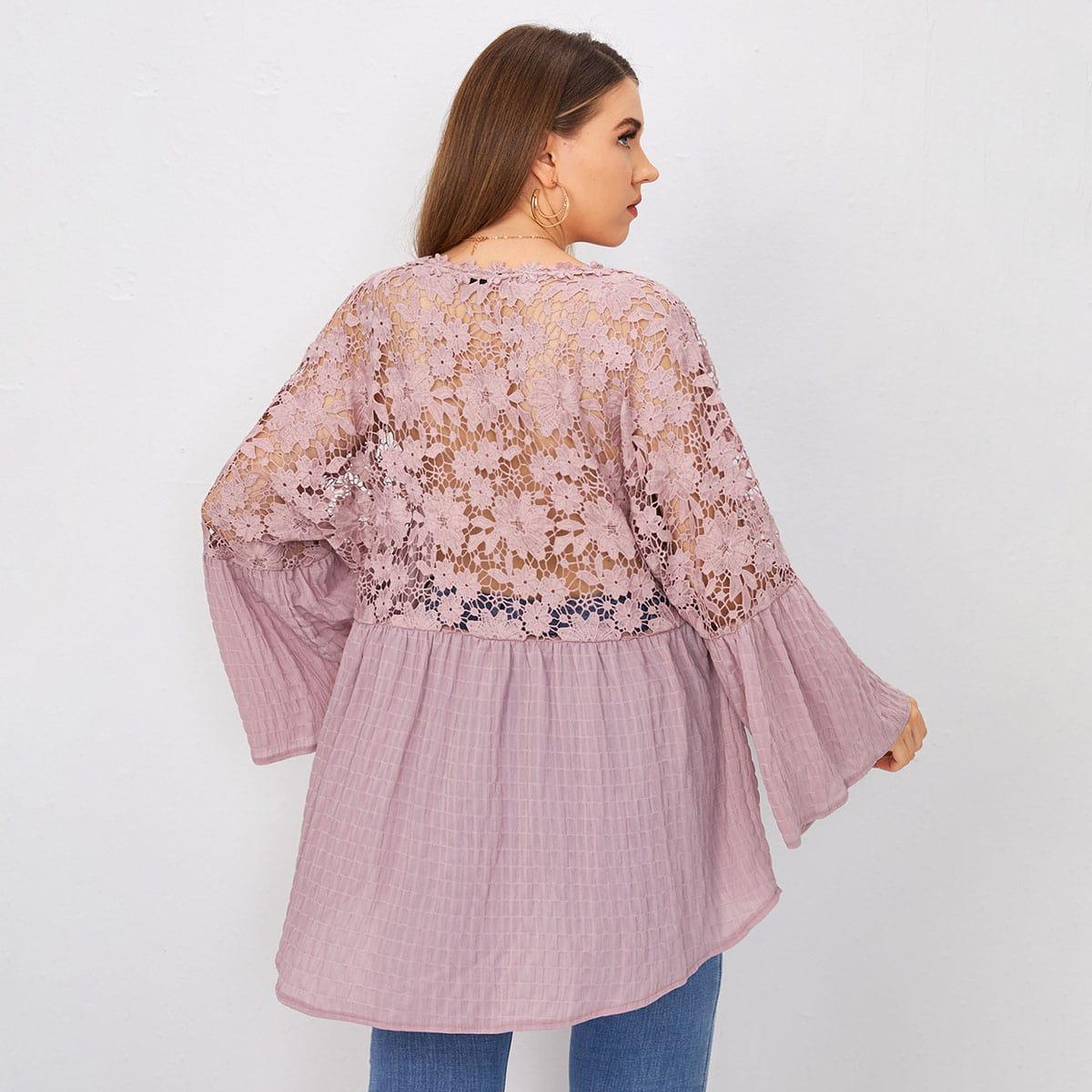 Контрастные кружева Одноцветный Повседневный Блузы размер плюс