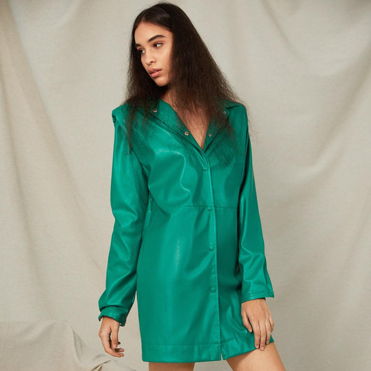 Пуговица Одноцветный Очаровательный Платье