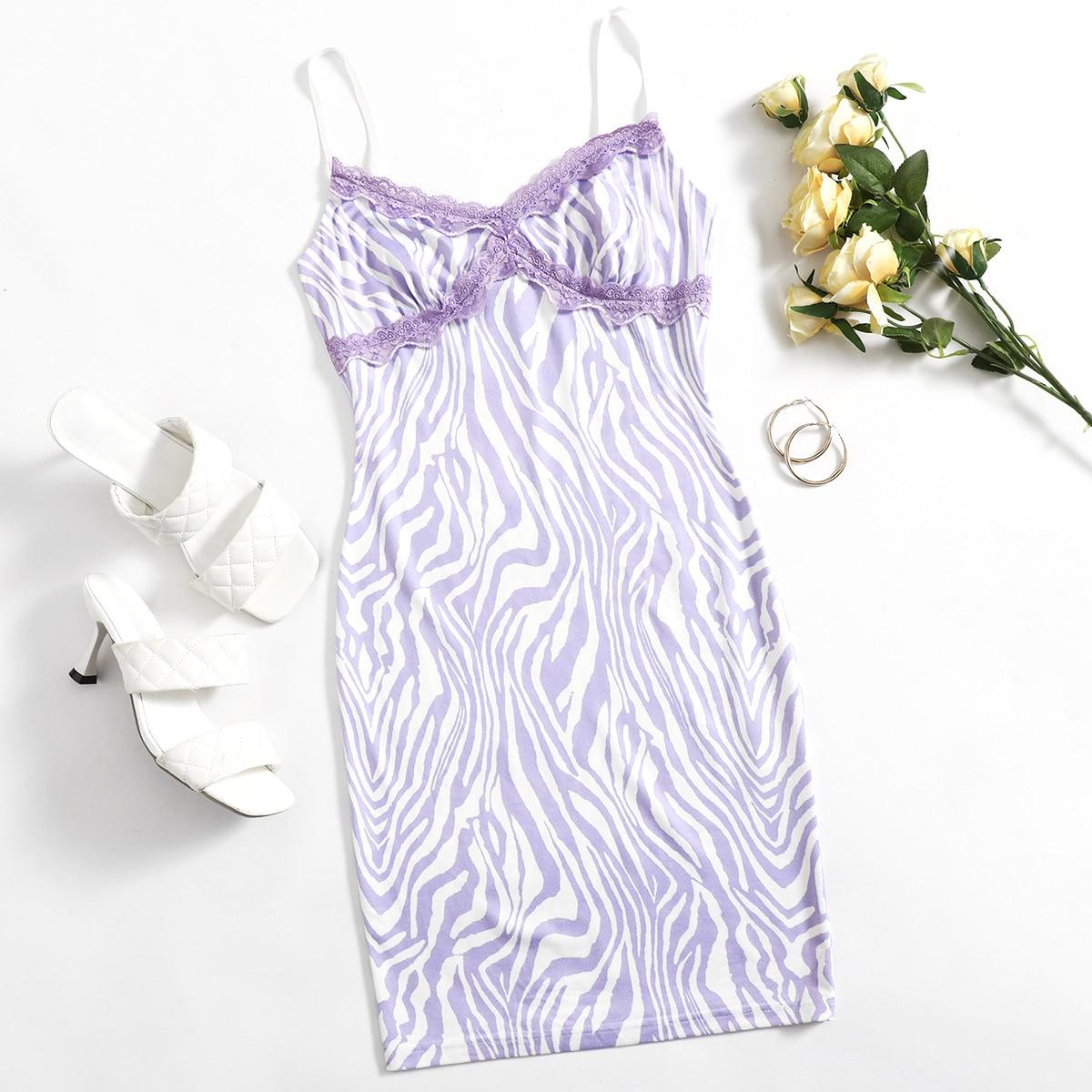 Облегающее платье с зебровым принтом и кружевной отделкой