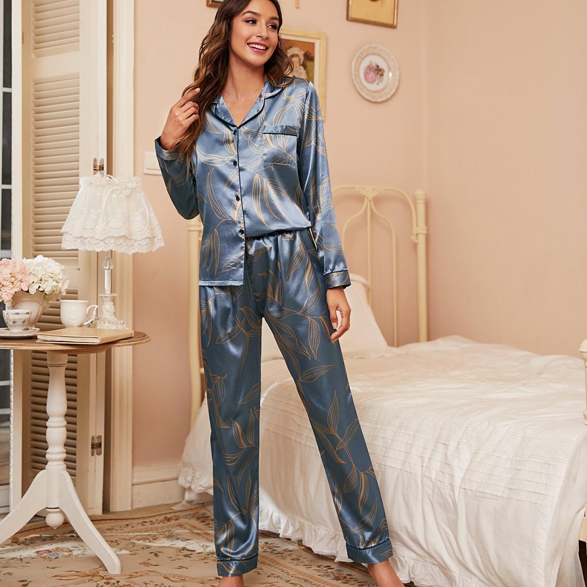 с карманами Растения Элегантный Комплект пижамы
