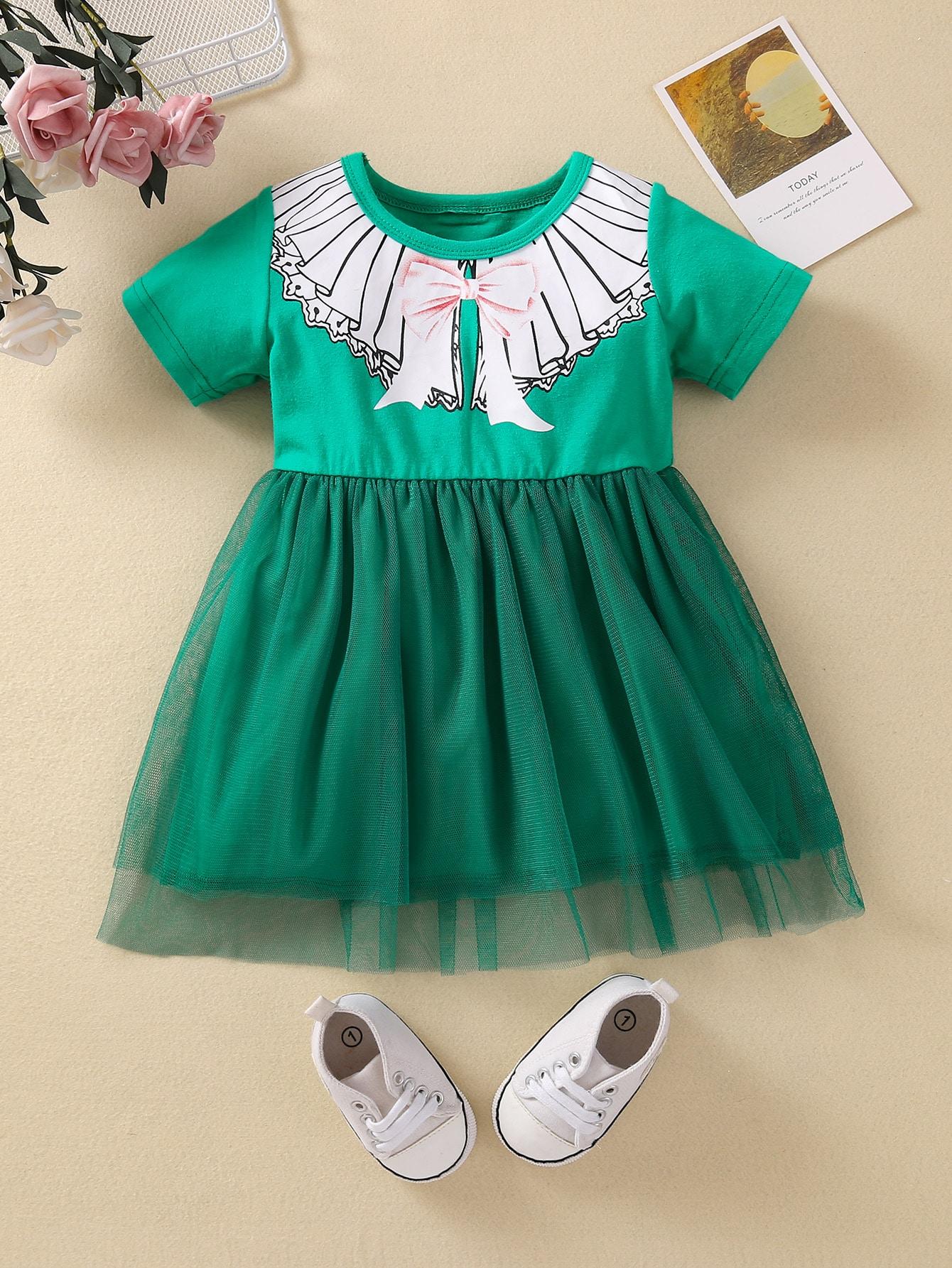 baby girl bow print mesh panel dress