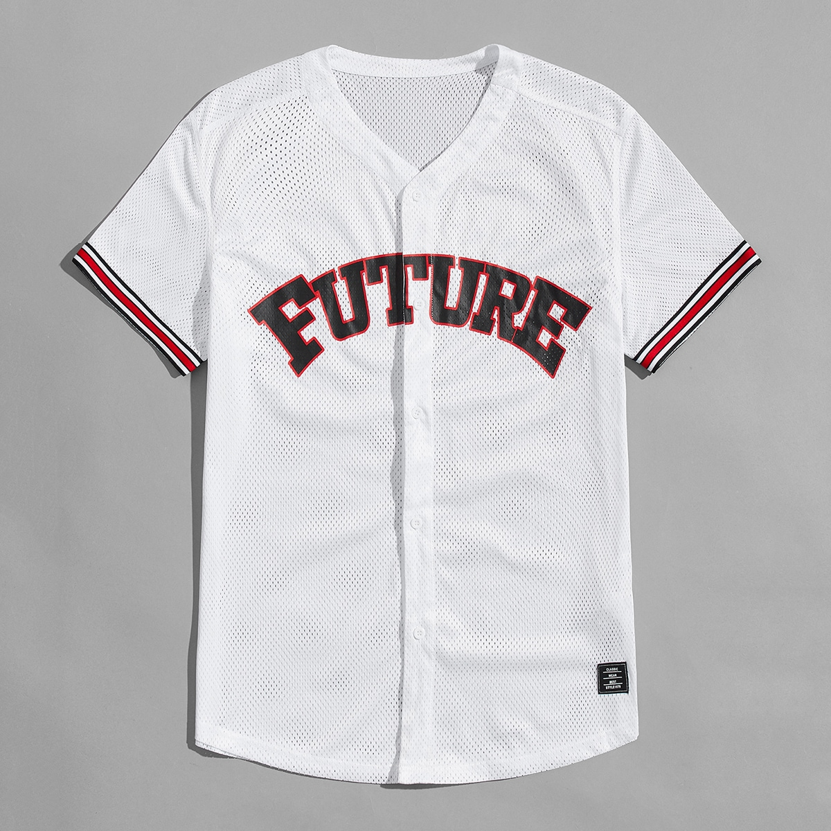 Мужской Рубашка с текстовым принтом в полоску открытый сетчатый