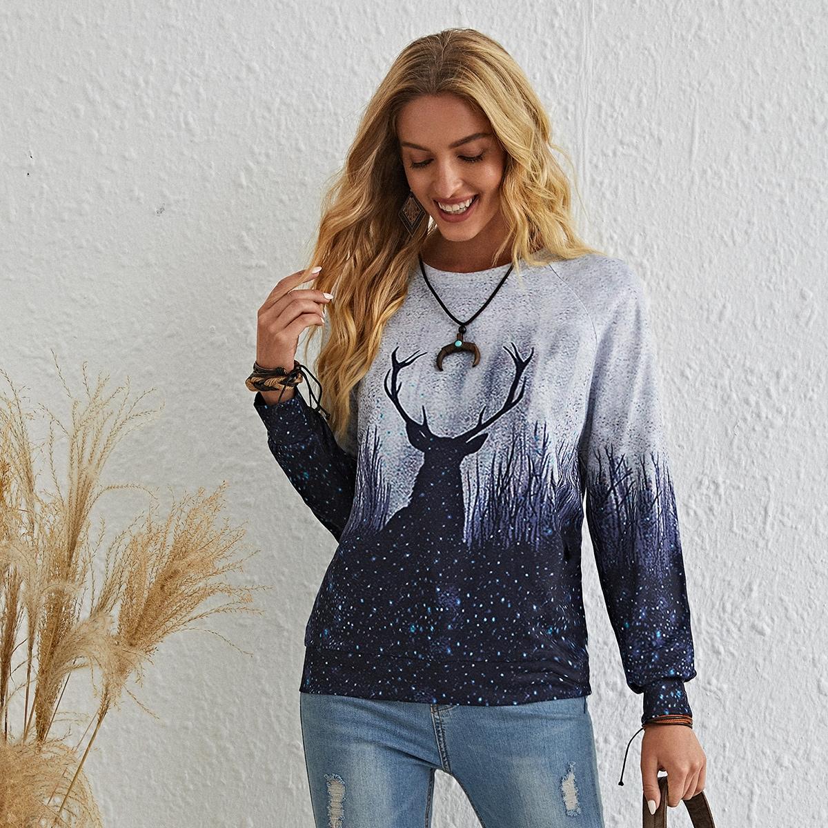 Пуловер с рукавами реглан и принтом животных