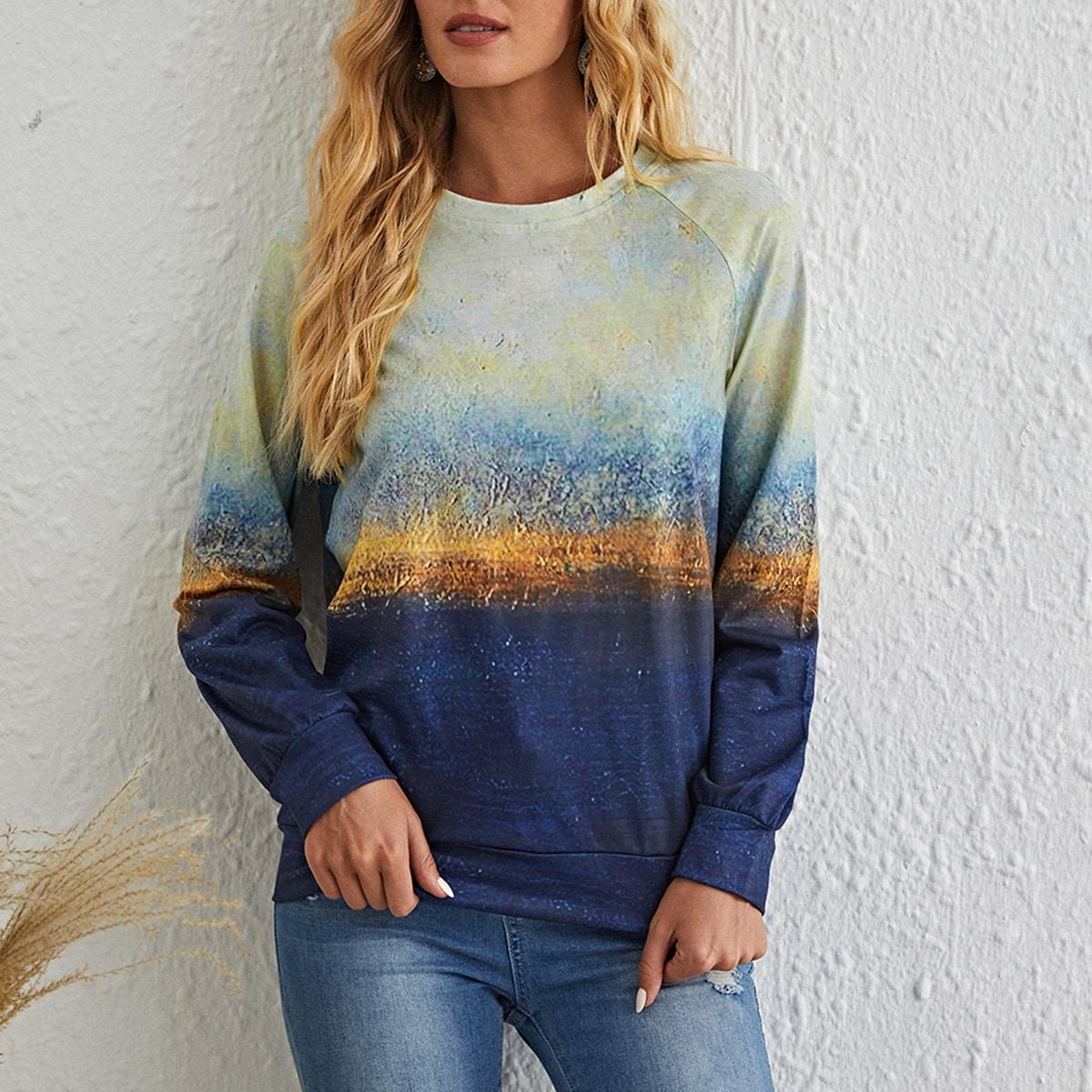 Пуловер с рукавами реглан и графическим принтом
