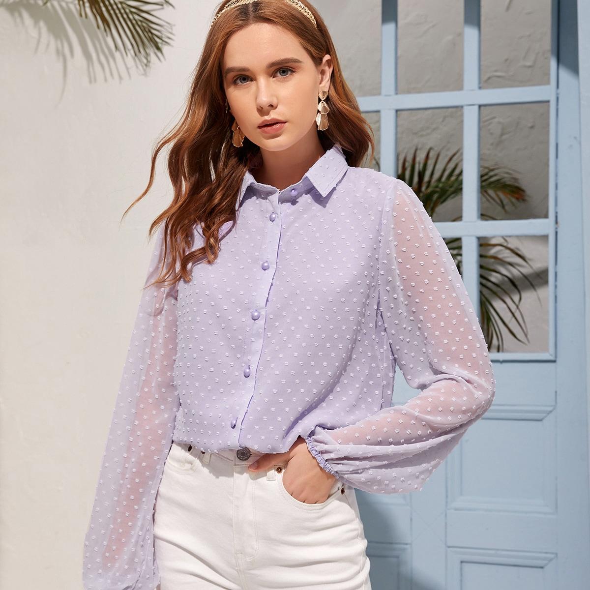 Пуговица Одноцветный Элегантный Блузы