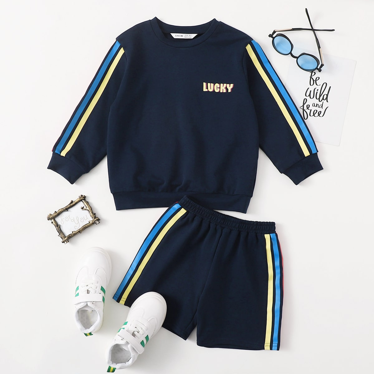 Toddler Boys Letter Graphic Striped Side Pullover & Shorts Set
