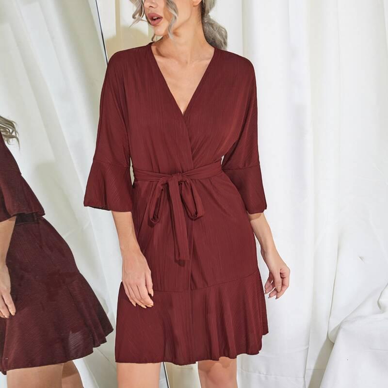 Flounce Sleeve Ruffle Hem Belted Solid Lounge Robe, Burgundy
