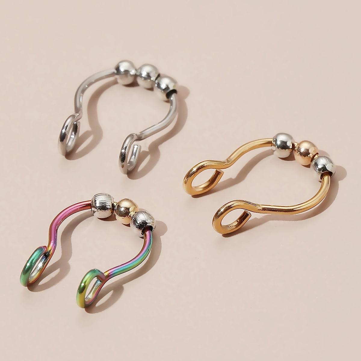 3 piezas anillo de nariz de acero inoxidable