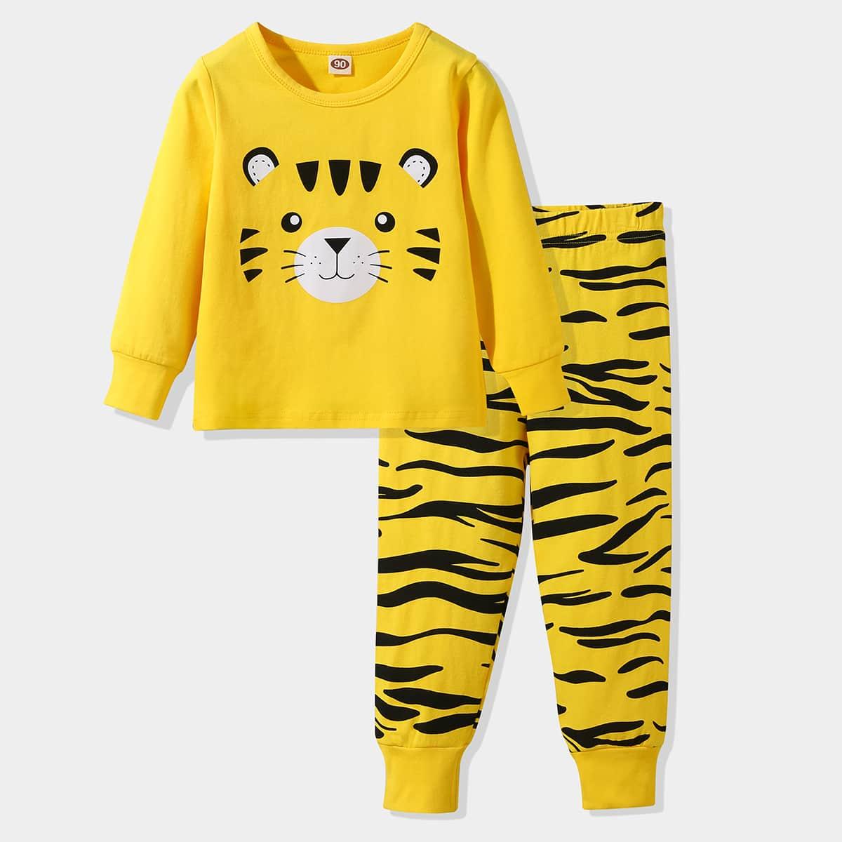 Пижама с тигровым принтом для мальчиков