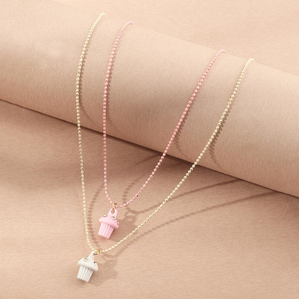 2шт ожерелье с грибом и стразами для девочек