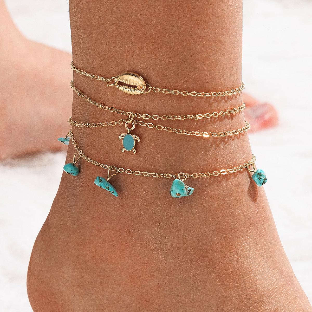 3pcs Turquoise & Shell Decor Anklet