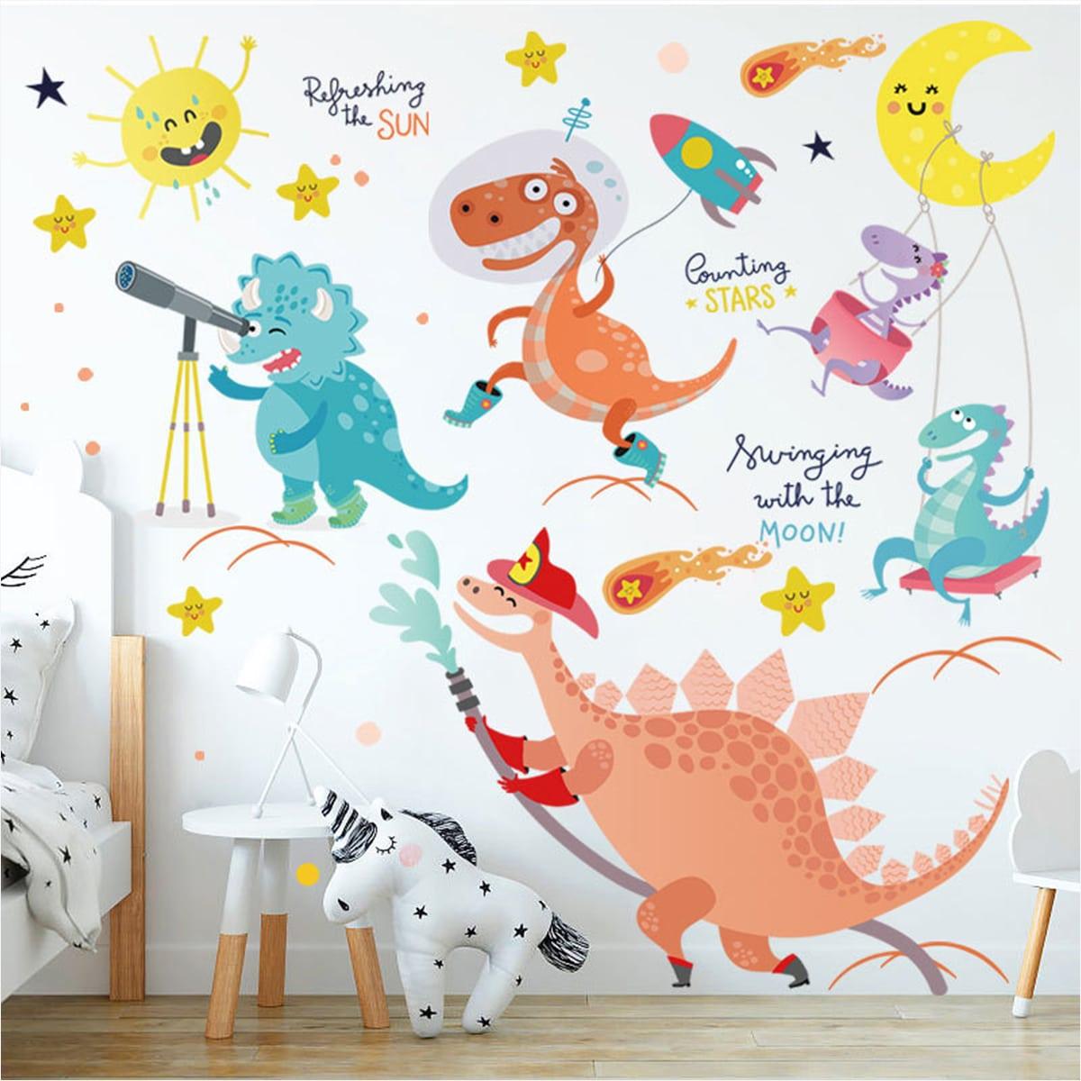 1sheet Kids Cartoon Dinosaur Print Wall Sticker