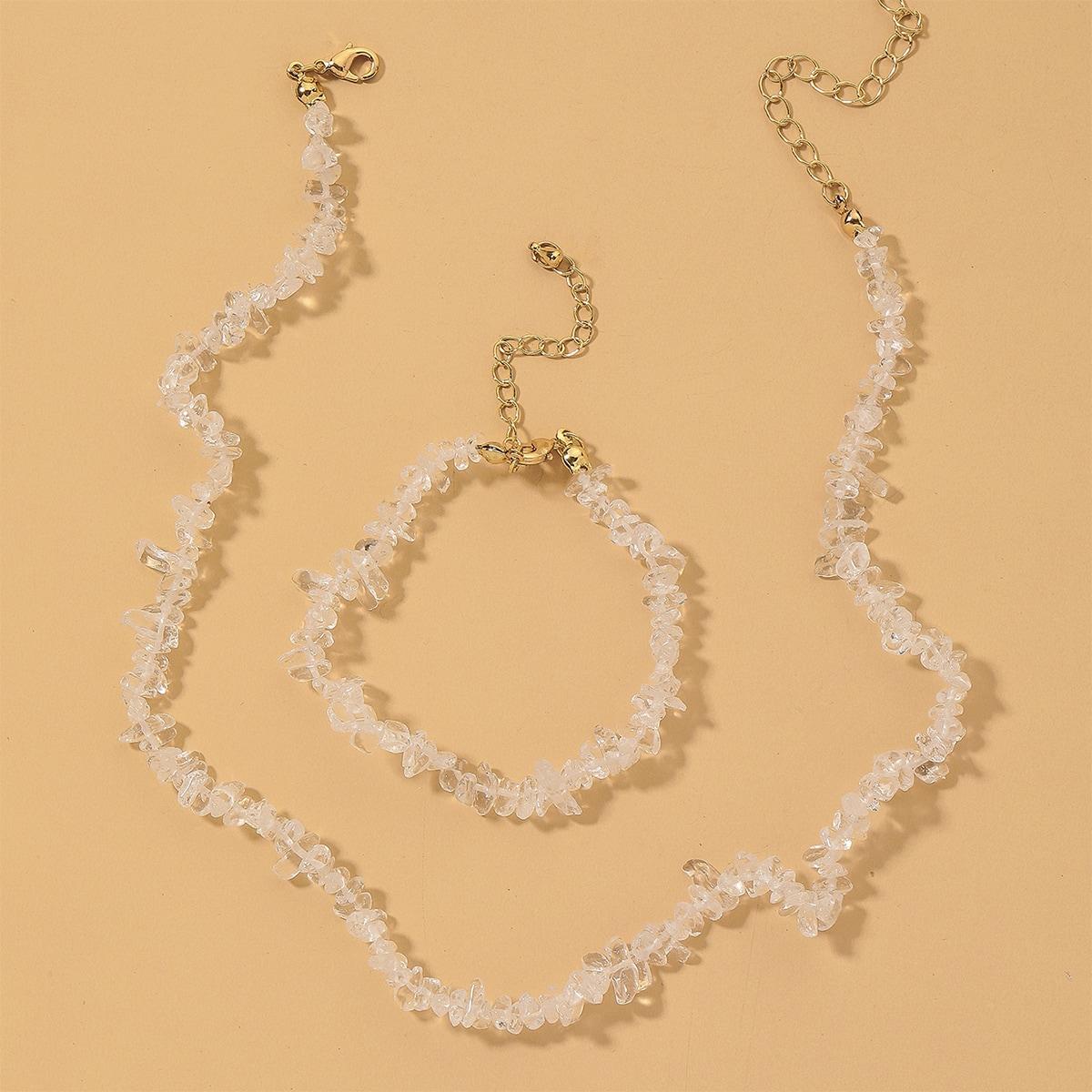Halskette & Armband mit Stein Dekor