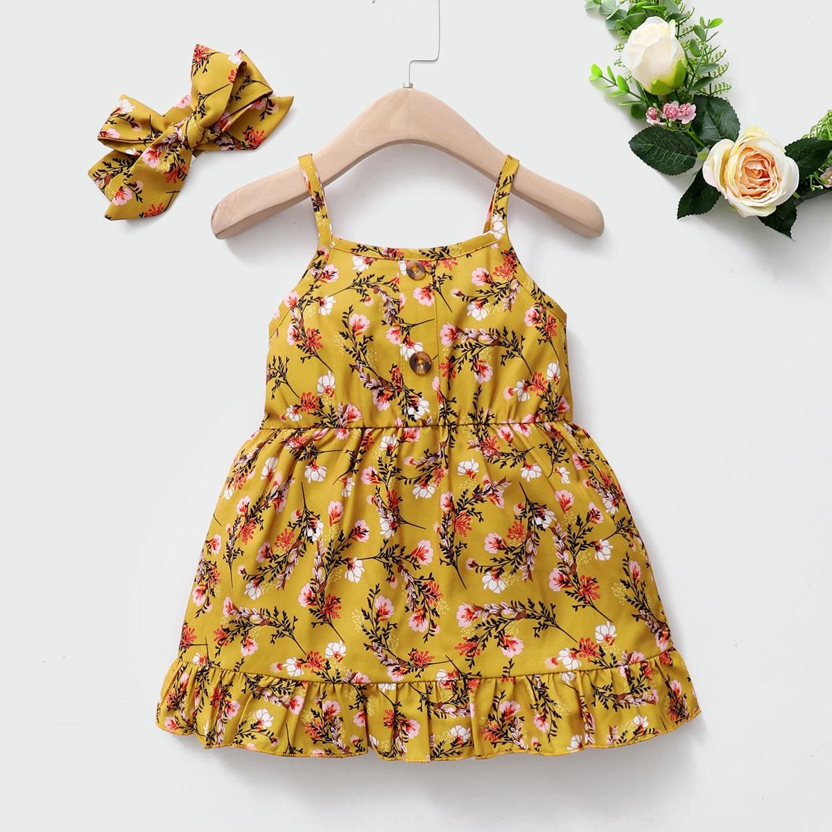 С оборками Цветочный принт Бохо Платья для малышей