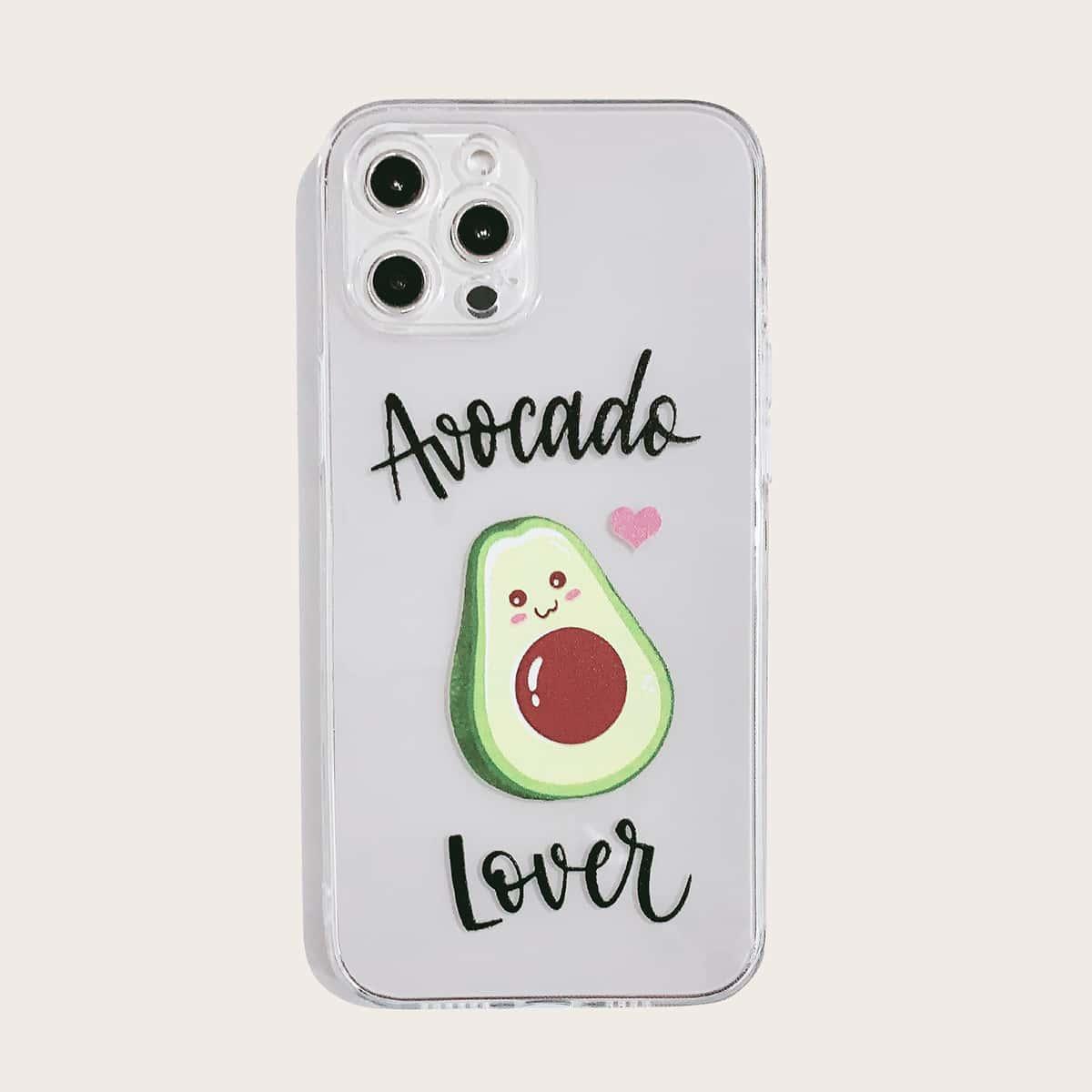 Cartoon Avocado Clear iPhone Case