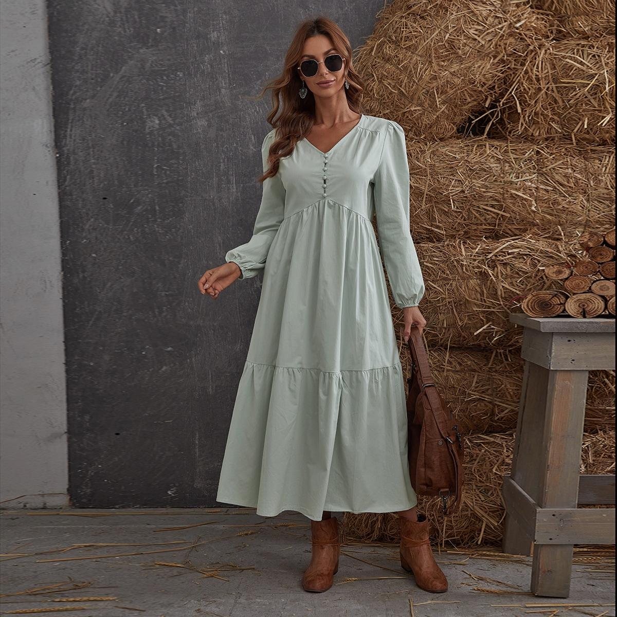 С оборками Одноцветный Скромный Платье