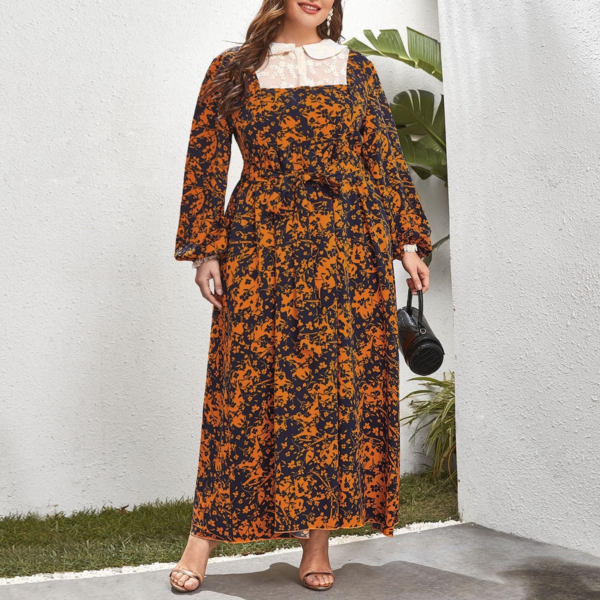 Вышивка Цветочный Скромный Платья размер плюс