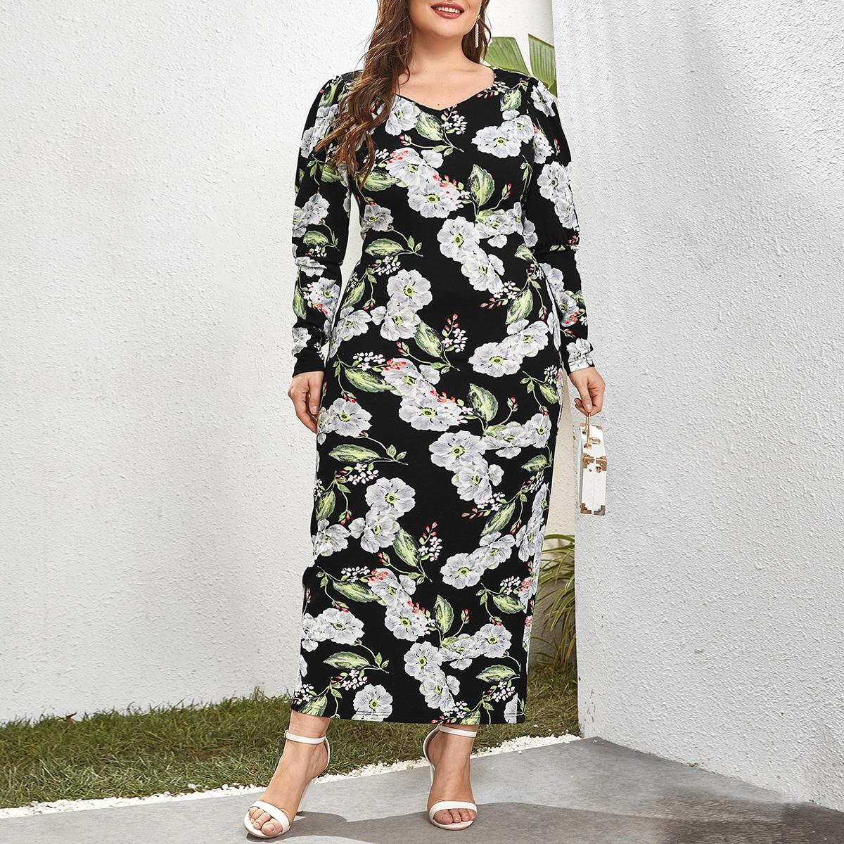 Разрез Цветочный Элегантный Платья размер плюс