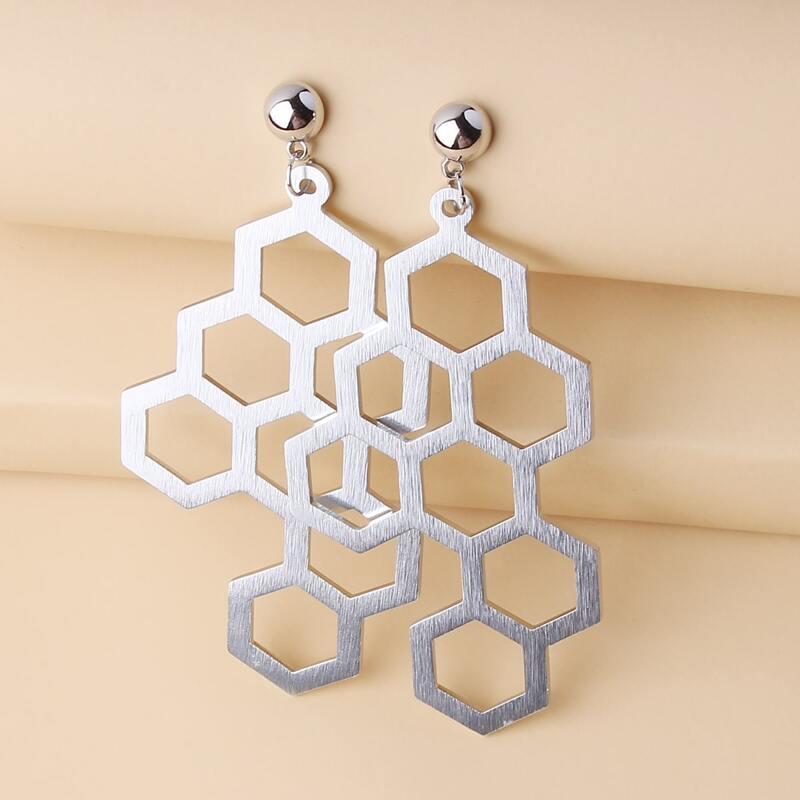 Honeycomb Design Drop Earrings, Silver