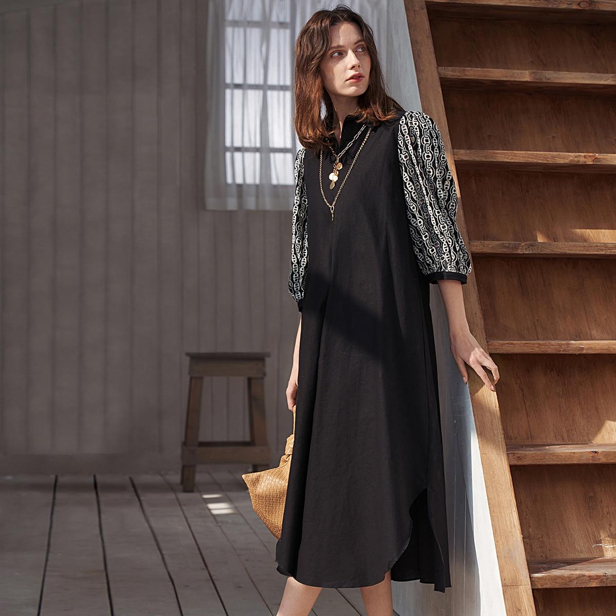 Асимметричный Геометрический принт Повседневный Платье