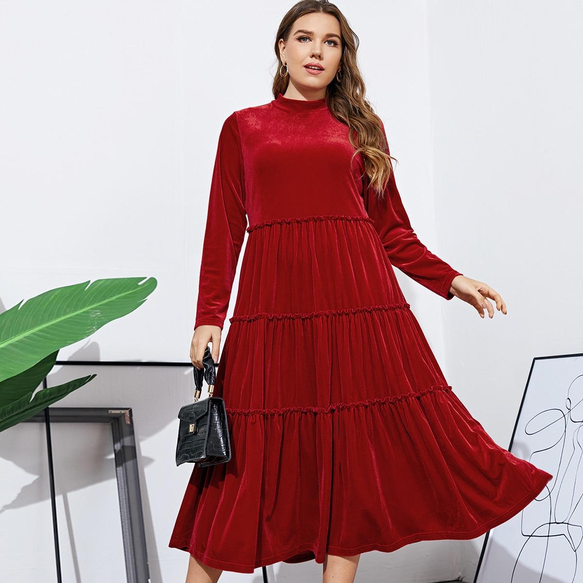 Оборка Одноцветный Повседневный Платья размер плюс