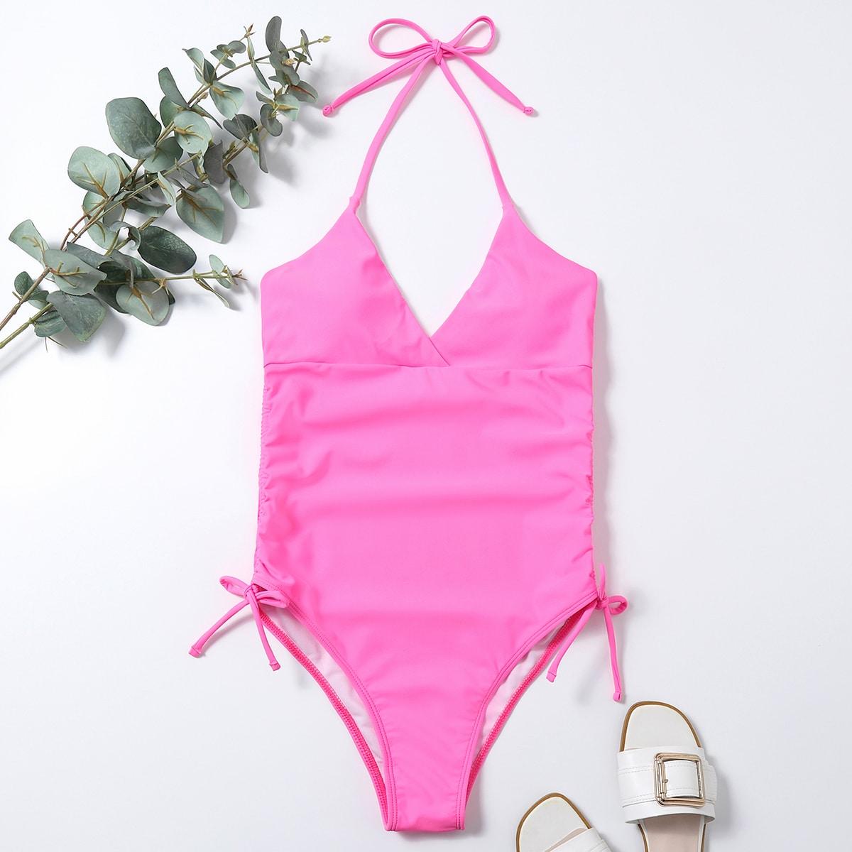 Neon Pink Halter One Piece Swimsuit