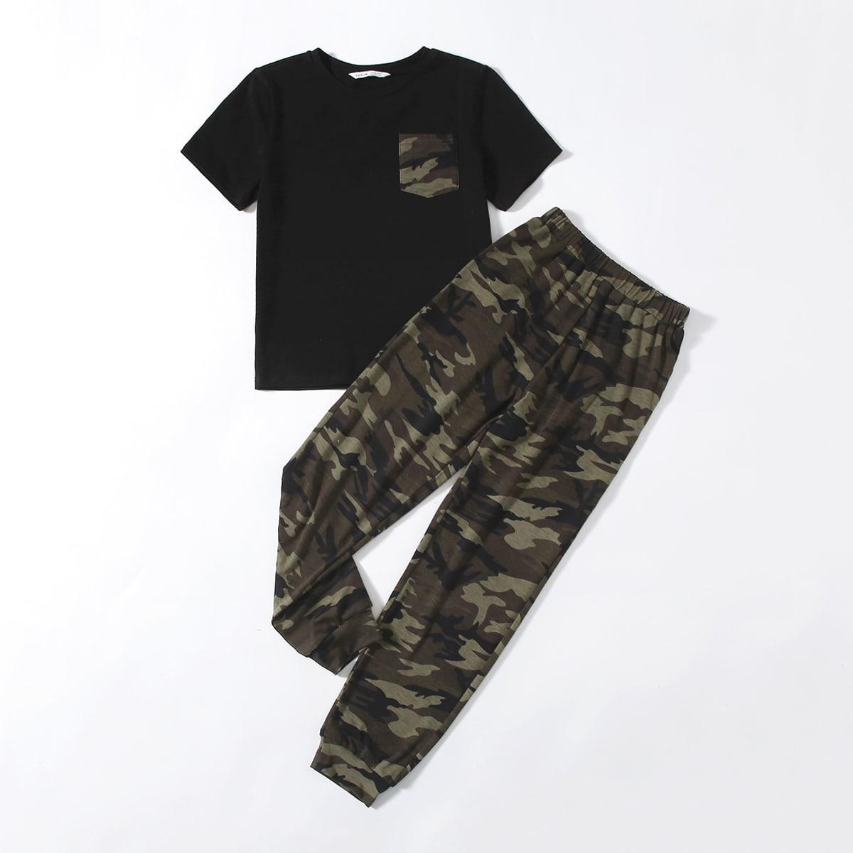 с карманами Камуфляж Повседневный Домашняя одежда для мальчиков