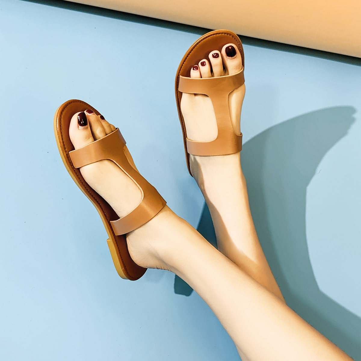 shein Open teen uitgesneden schuif sandalen