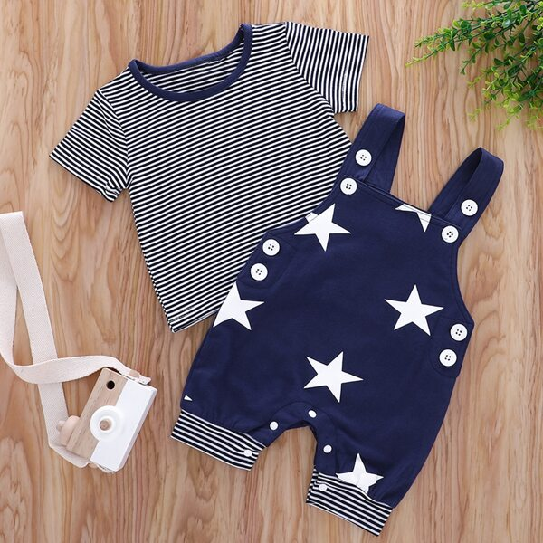 Baby Boy Striped Tee & Star Print Overall Jumpsuit, Navy blue