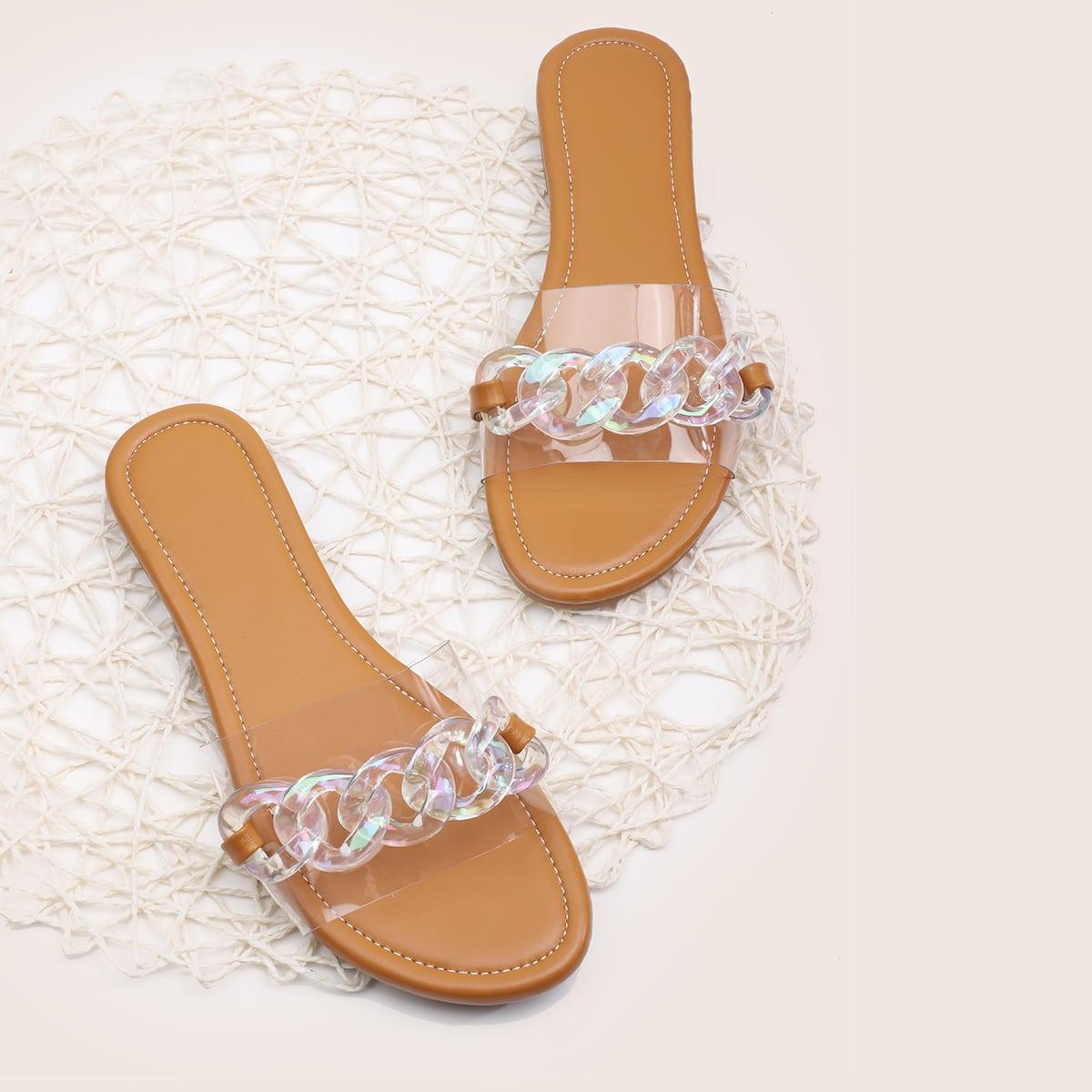 Прозрачные сандалии с цепочкой