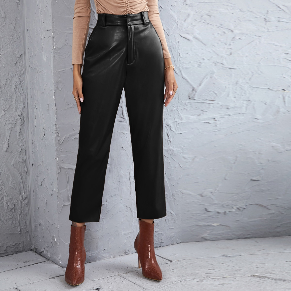 PU High Waist Straight Leg Pants