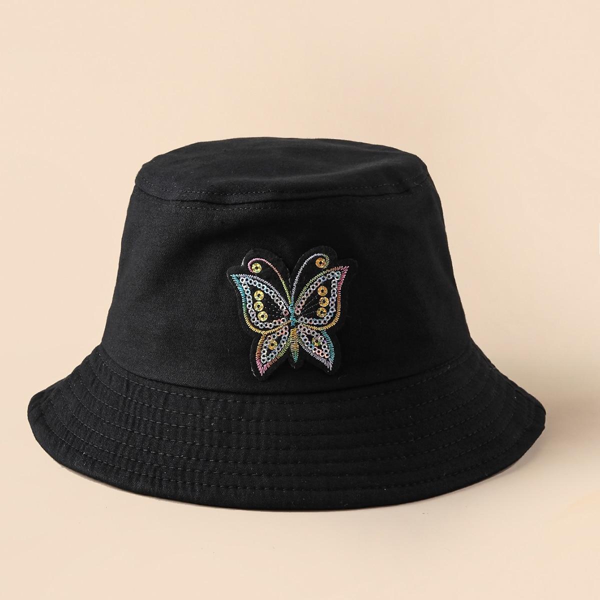 Sombrero cubo con parche de mariposa