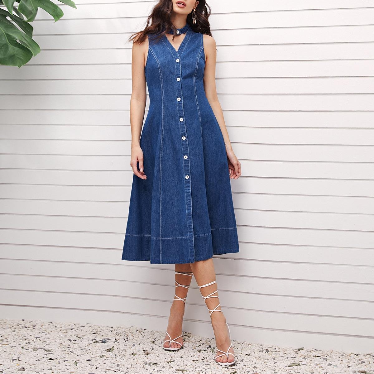 Пуговица Одноцветный Элегантный Джинсовые платья