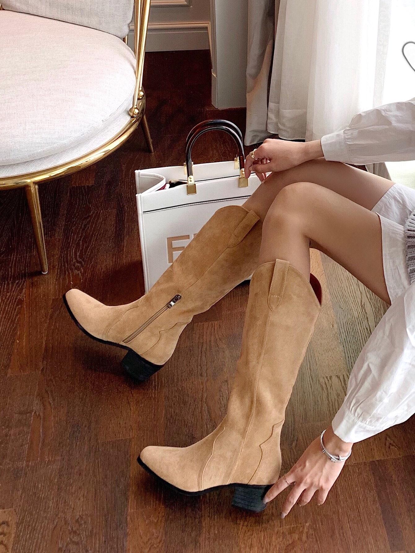 Minimalist Side Zipper Chunky Boots
