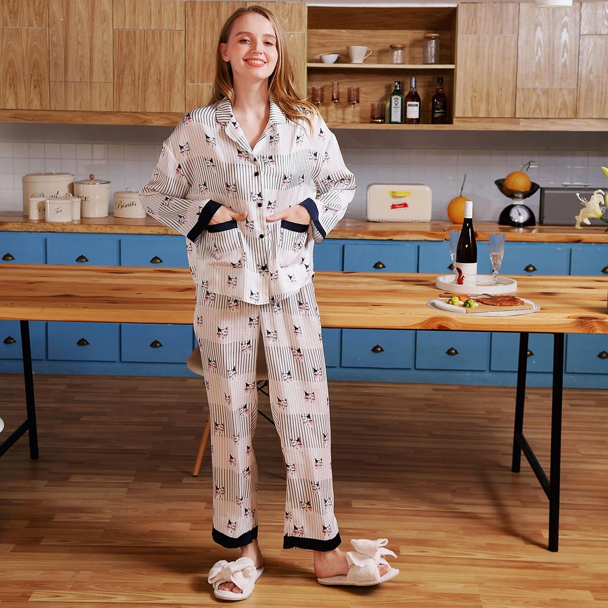 с карманами Полосатый Повседневный Комплект пижамы