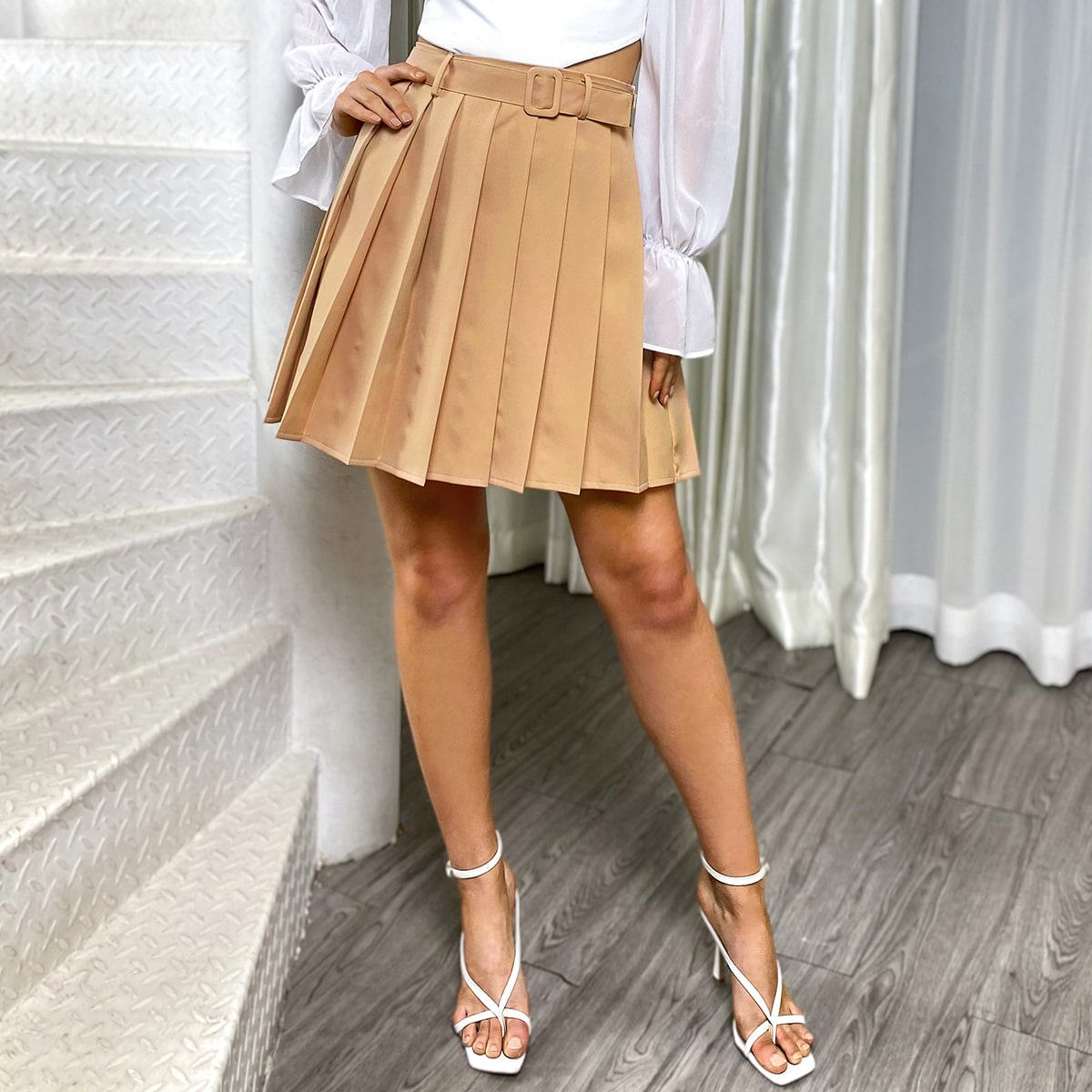 Belted Pleated Hem Skirt