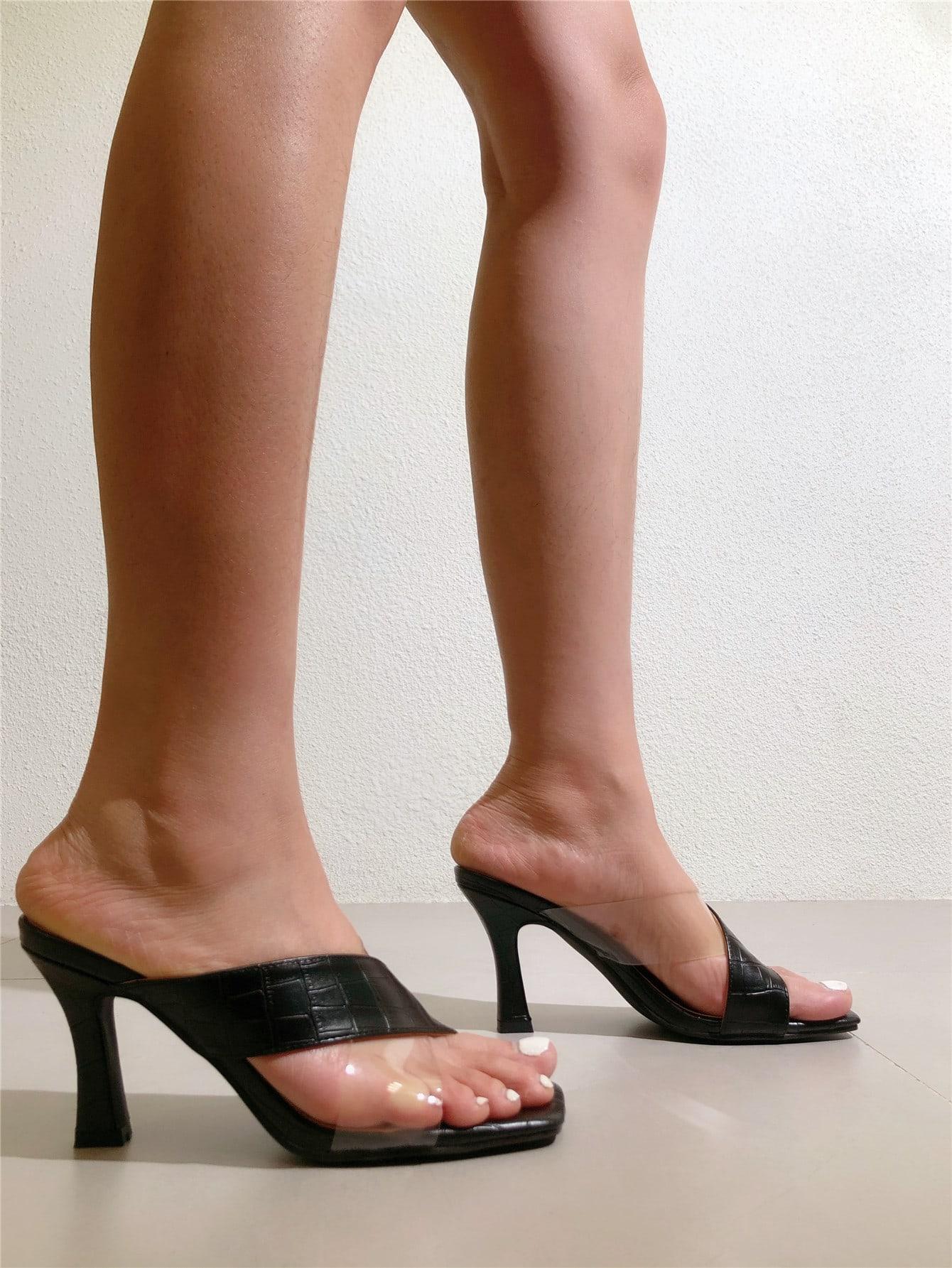croc embossed mule sandals