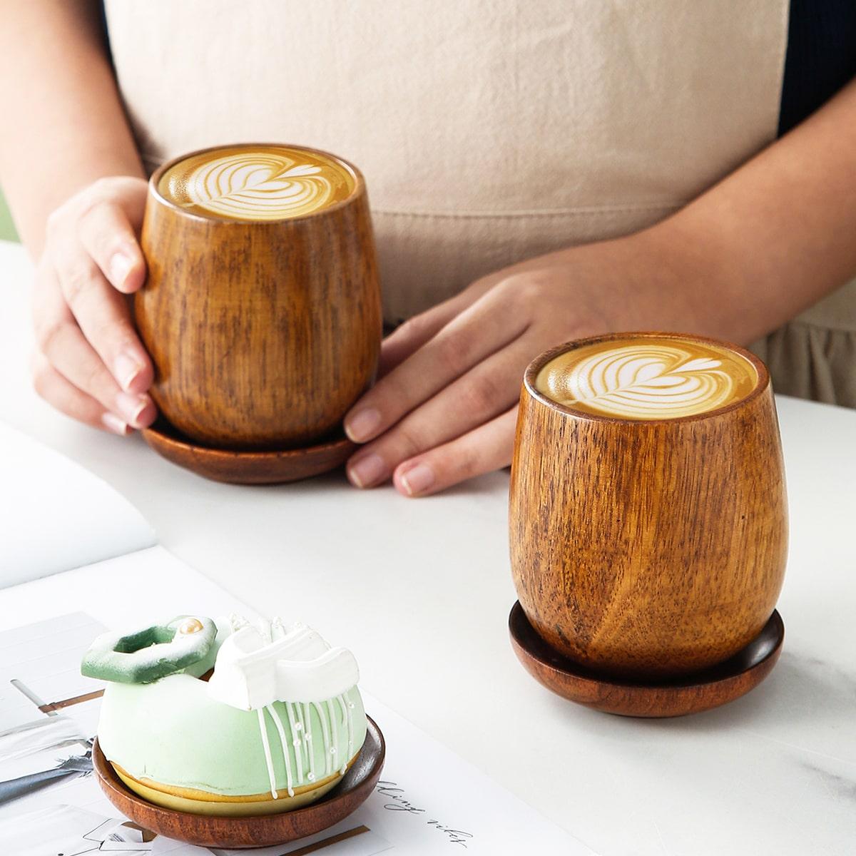1шт Деревянная чашка и поднос 1шт